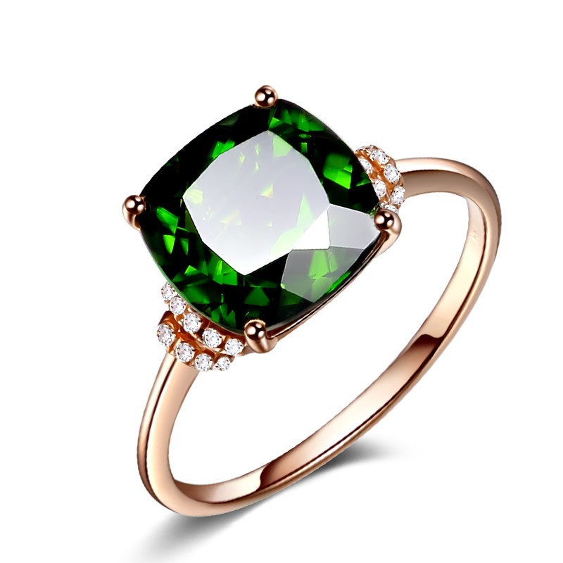 10K Rose Gold Grandmother Green Ring For Women Girl Anillos Emerald Gemstone Topaz Bizuteria Jewelry 10K Gold Ring With Box