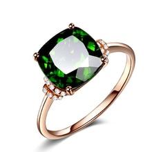 10K Rose Gold Grandmother Green Ring for Women Girl Anillos Emerald Gemstone Topaz Bizuteria Jewelry with Box