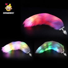 Dopamonkey Butt Plug Led Cosplay Fox Tail Butt Plug Met Back Light Paar Erotische Sex Producten Gloeiende Anale Plug Led sex Toys(China)