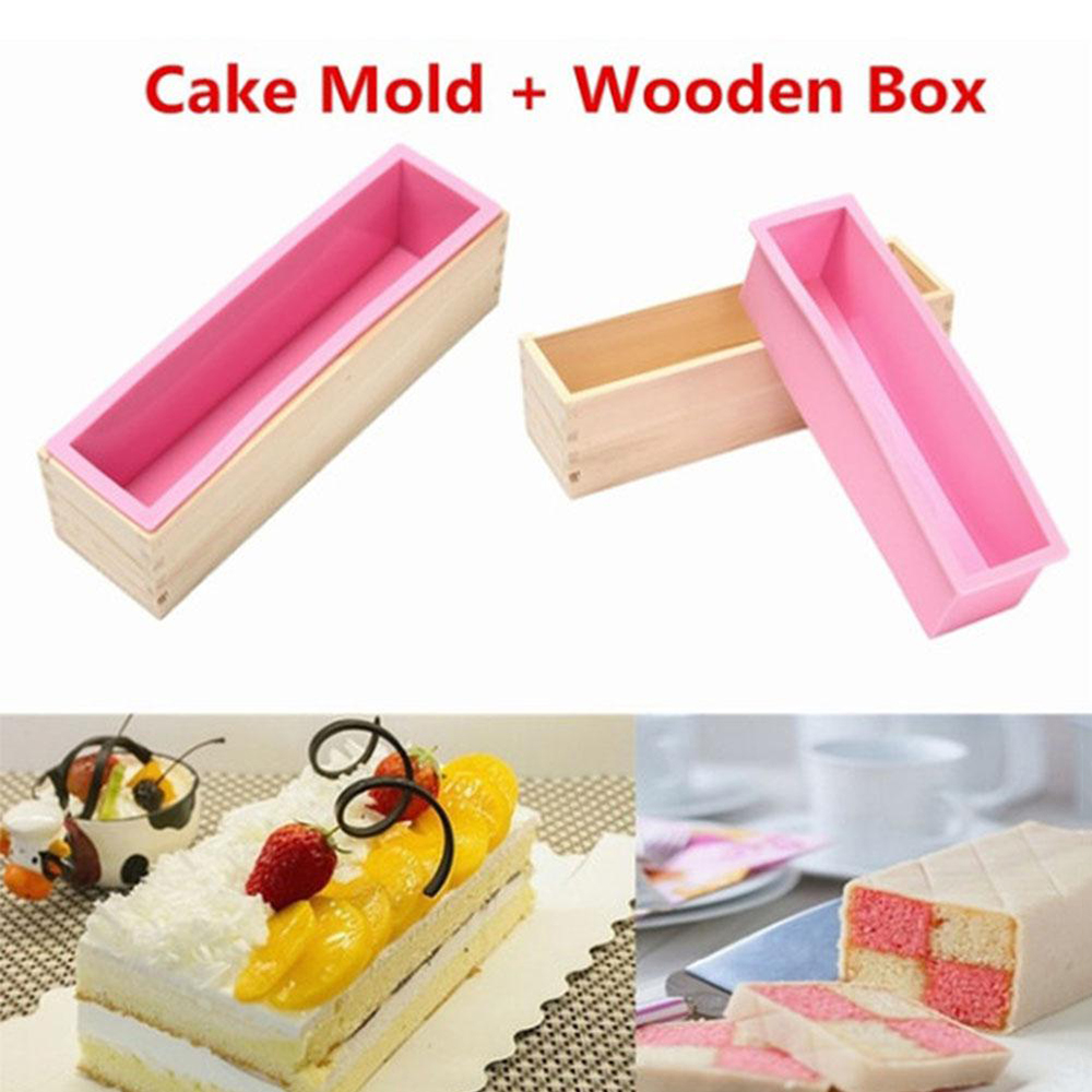 1 Pc Flexible Rectangular Silicone Soap Mold Mold With Wooden Box For Natural Handmade Tools DIY Decoration Tools 1200ml