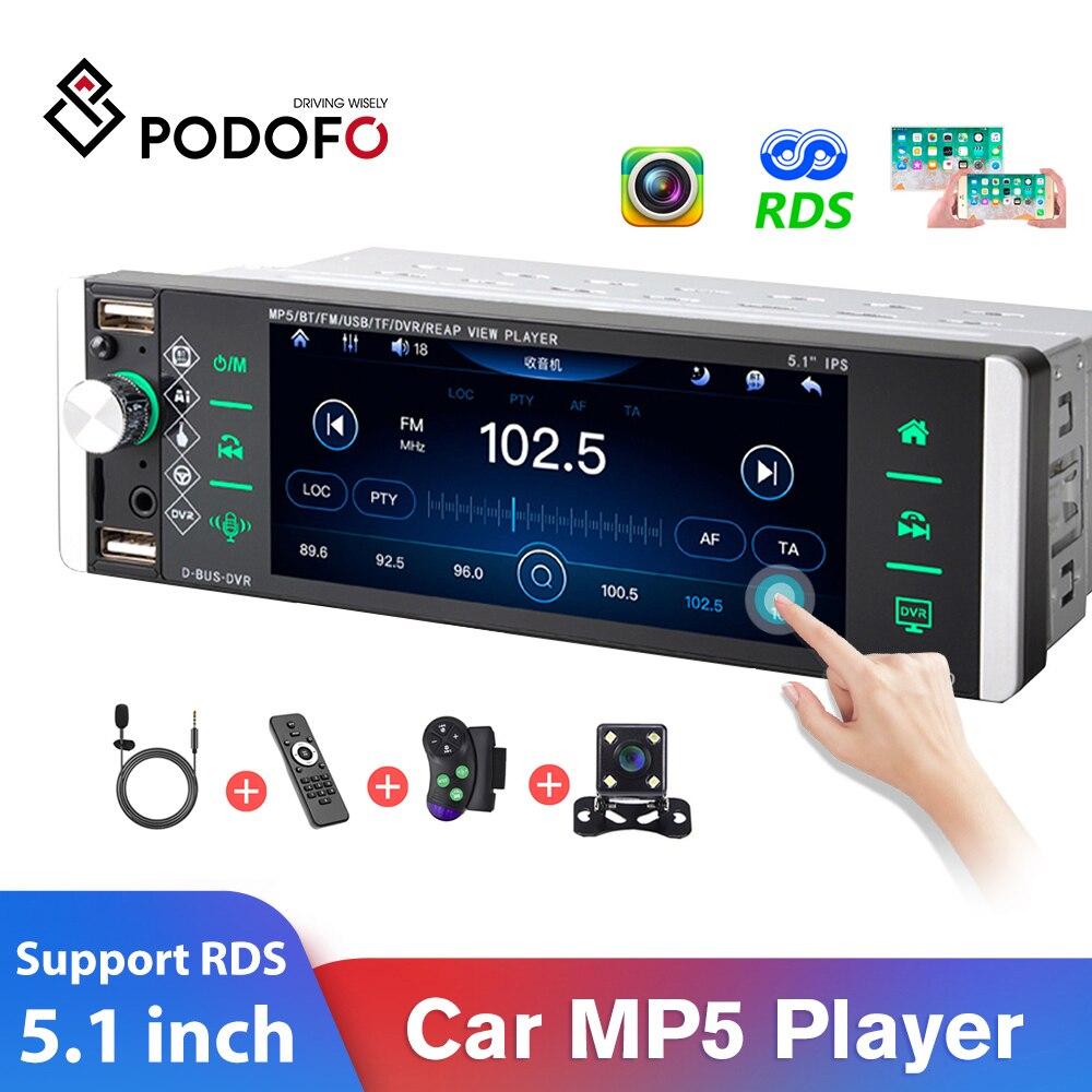 Podofo-REPRODUCTOR MP5 con pantalla táctil para coche, reproductor multimedia 1Din con pantalla táctil, conexión bidireccional, RDS, AM, FM, 4-USB, 5,1 pulgadas, compatible con Android, Mirrorlink
