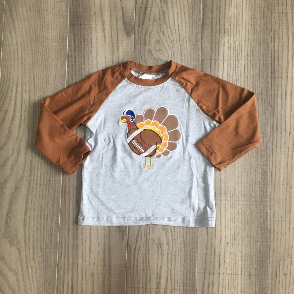Girlymax fall/winter baby boys thanksgiving cotton long sleeve top t-shirt raglans brown grey turkey football children clothes 1