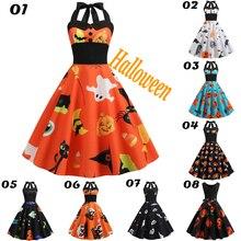 Sexy Halter Party Dress 2019 Skull Pumpkin Printed Halloween Vintage Pinup  Sleeveless Robe dhalloween 9.24