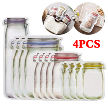 4PCS Snacks Plastic Box Mason Jar Shaped Food Container Bag Clear Bottle Modeling Zippers Storage