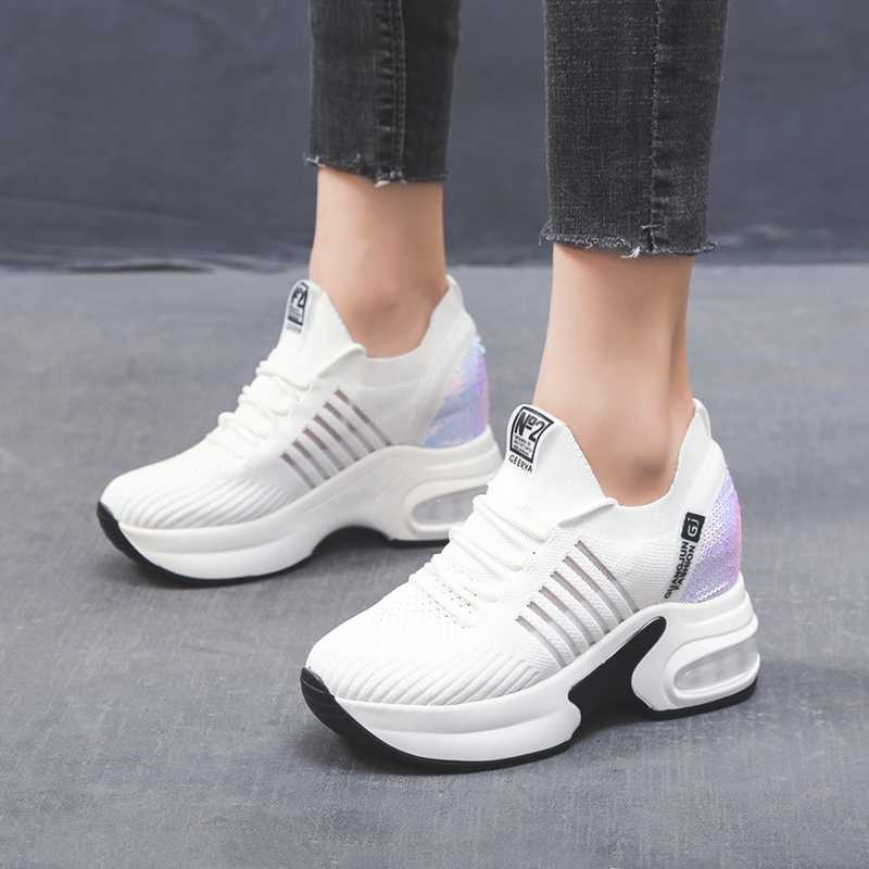 Women's Platform Shoes High Heel Increasing Ladies Shoes Mesh Breathable Quality Wedge Black Woman Sneakers a668w