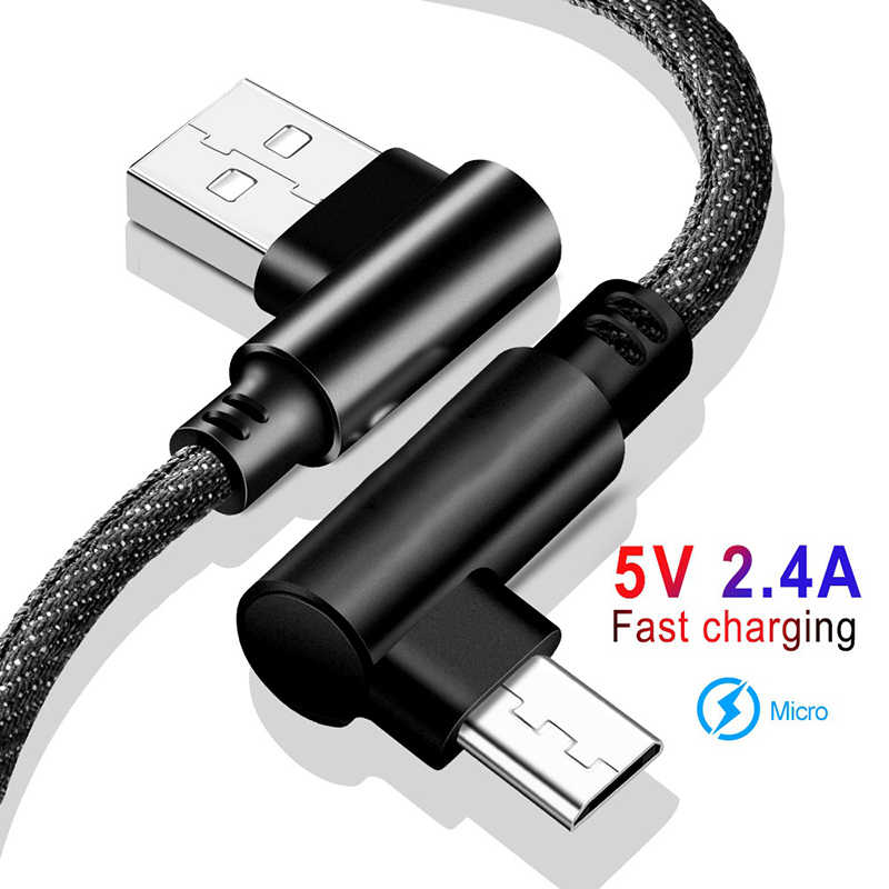 Micro USB Cable Fast Charging Cord 2.4A 90 Degree Micro Cable For Huawei Samsung Xiaomi Android Microusb Mobile Phone Data Cable
