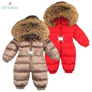 Image 1 - Russia Winter Newborn Baby Hoodie Big Fur Collar Boys Warm Outerwear Jumpsuit Baby Clothing Parka Snow Wear Girls Coats Jacket