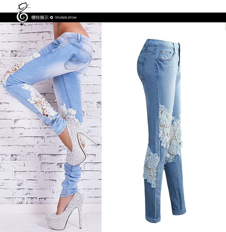 Hole Ripped Jeans Women Stretch Denim Pencil Pants Hollow Out Casual Slim Fit Torn Jeans Spring Long Trousers Low Waist YQ099