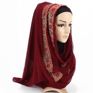 Image 5 - 2020 New Summer Islamic Muslim Rhinestone Lace Flower Scarf Shawl Hijab Women Solid Color Bubble Chiffon Turban Headband Scarves