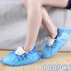300PCS Blue Plastic Disposable Shoe Covers Rain Outdoor Carpet Waterproof Shoe Cover Dispenser Cycling Overshoes Protector