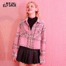 ELFSACK Pink Tweed Vintage Fringe Blouse Shirts Women 2020 Winter Pearl Single B