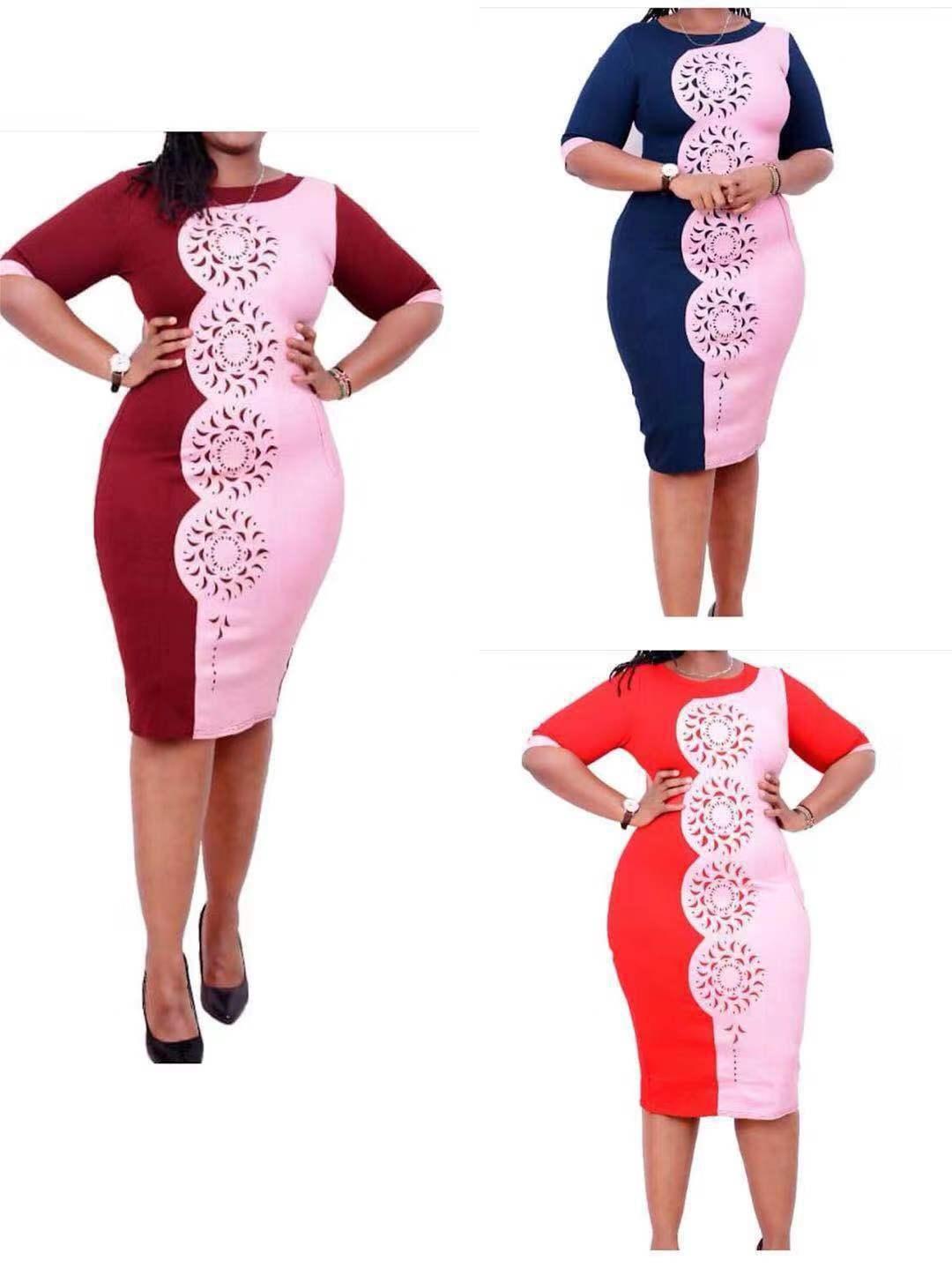 2019 Autumn Elegent Fashion Style African Women O-neck Plus Size Knee-length Dress L-3XL