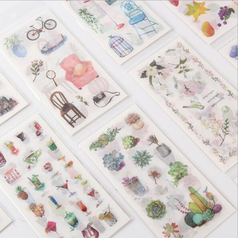 6sheets/pack retail Paper Stickers Ink and Watercolor Simple Creative Decoration Hand Account Daily