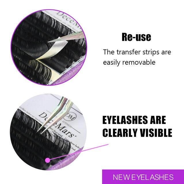 DeceMars Eyelash Extensions Faux Mink Individual Eyelashes Extensions for Salon Use Natural Semi Permanent Eyelash 16lines/Tray 3