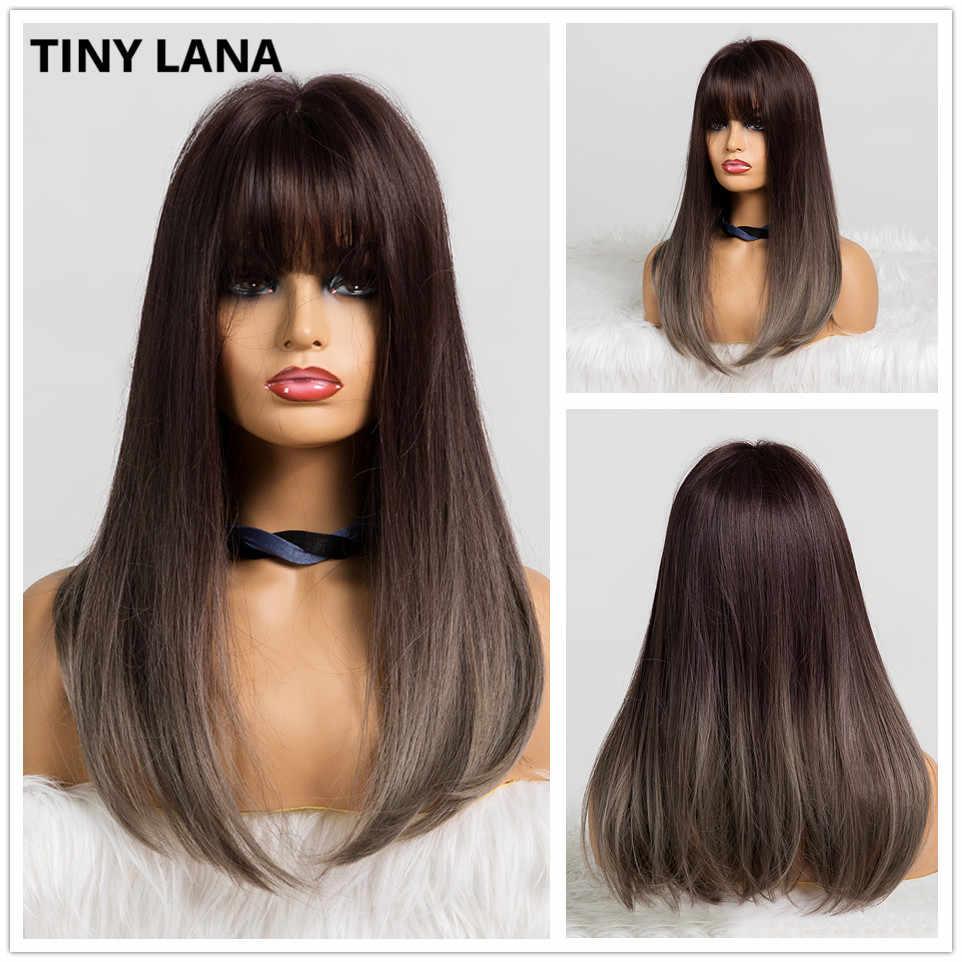 Kecil Lana Panjang Gelombang Wanita Wig dengan Poni Ombre Coklat Rambut Pirang Suhu Tinggi Serat Sintetis Wig untuk Hitam Putih Wanita cosplay