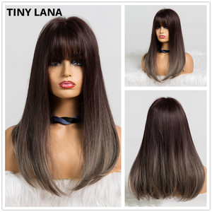 Image 4 - TINY LANA Long Wave Women Wigs with Bangs Ombre Brown Blonde High Temperature Fiber Synthetic Wigs for Black White Women Cosplay