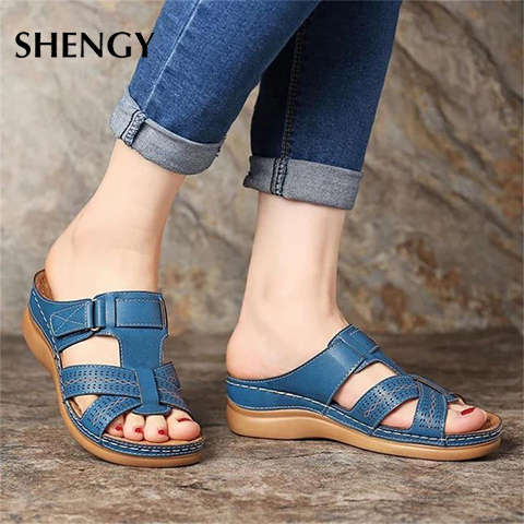Wedges Shoes Slippers Strap Flat Sandals Comfortable Women Ladies Home Female Beach Plus