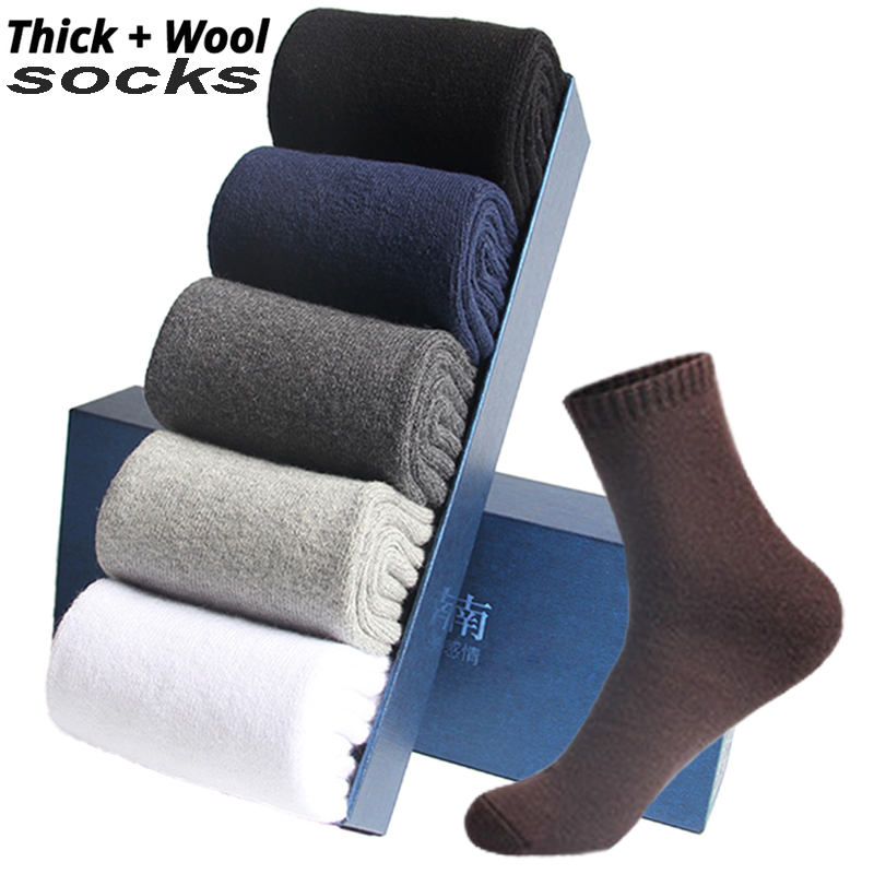 2019 Autumn Winter Men's Warm Wool Socks Cotton Harajuku High Quality Black Gray Casual Tube Men Dress Socks For Men Gift 5Pair