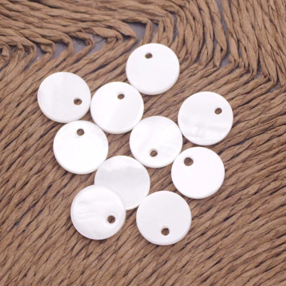 Купить с кэшбэком 10 PCS 10mm Coin Shell Natural White Mother of Pearl Loose Beads Charms Crafts