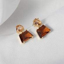 XIALUOKE S925 Needle Korea Fashion Geometric Irregular Glass Stud Earrings For Women Vintage Tassel Crystal Earrings Jewelry