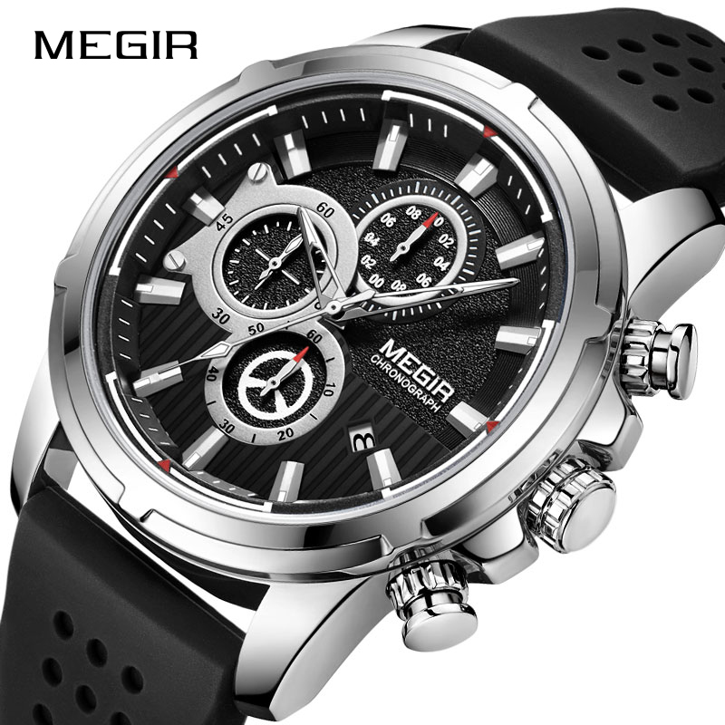 <font><b>MEGIR</b></font> Quartz Wristwatches Men Silicone Strap Chronograph Sport Watch Man Relogios Masculinos Top Brand Luxury Waterproof Clock image