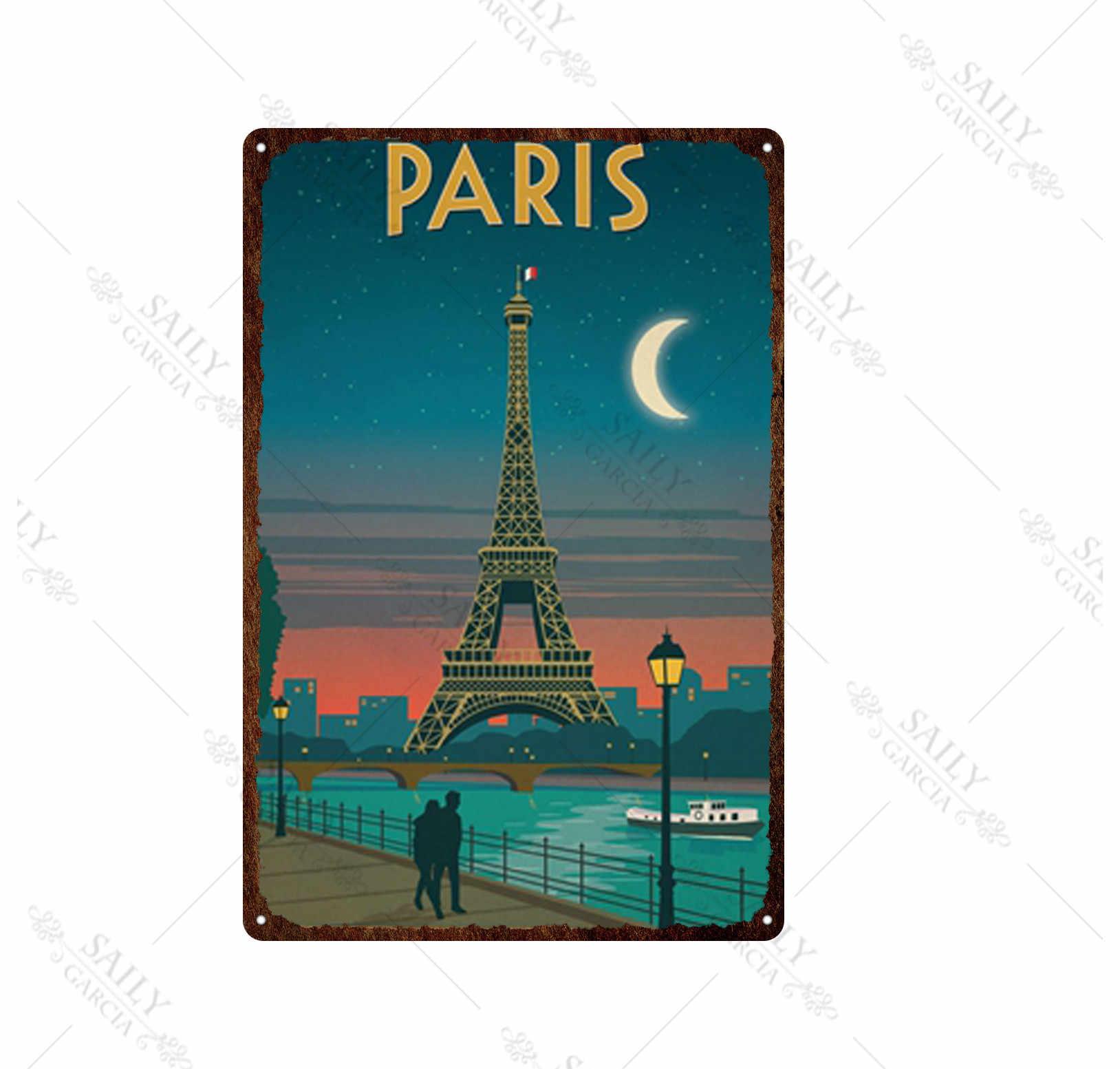 Paris Cartel de chapa de metal pintado decoraci/ón de pared moderna sala de juegos reglas de la casa