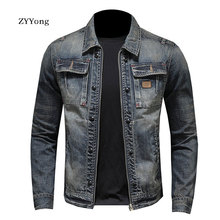 Spring And Autumn Bomber Denim Jacket Men Jean Coats Cotton Turndown Collar Washed Slim Casual Fashion Long Sleeve Clothing