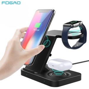Image 1 - 5 Trong 1 Đế Đứng Sạc Nhanh Dành Cho Samsung S20 iPhone 11 IWatch 15W Sạc Không Dây Qi Cho Galaxy đồng Hồ Bánh Răng Nụ Tai Nghe Airpods Pro