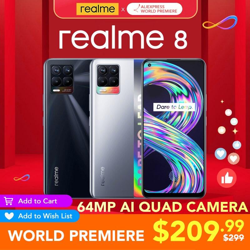 [Мировая премьера] realme 8 глобальная версия 6 ГБ Оперативная память 128 Гб Встроенная Память 30W зарядное устройство Helio G95 6,4