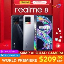 [World premiere] realme 8 versão global 6gb ram 128gb rom 30w carga helio g95 6.4
