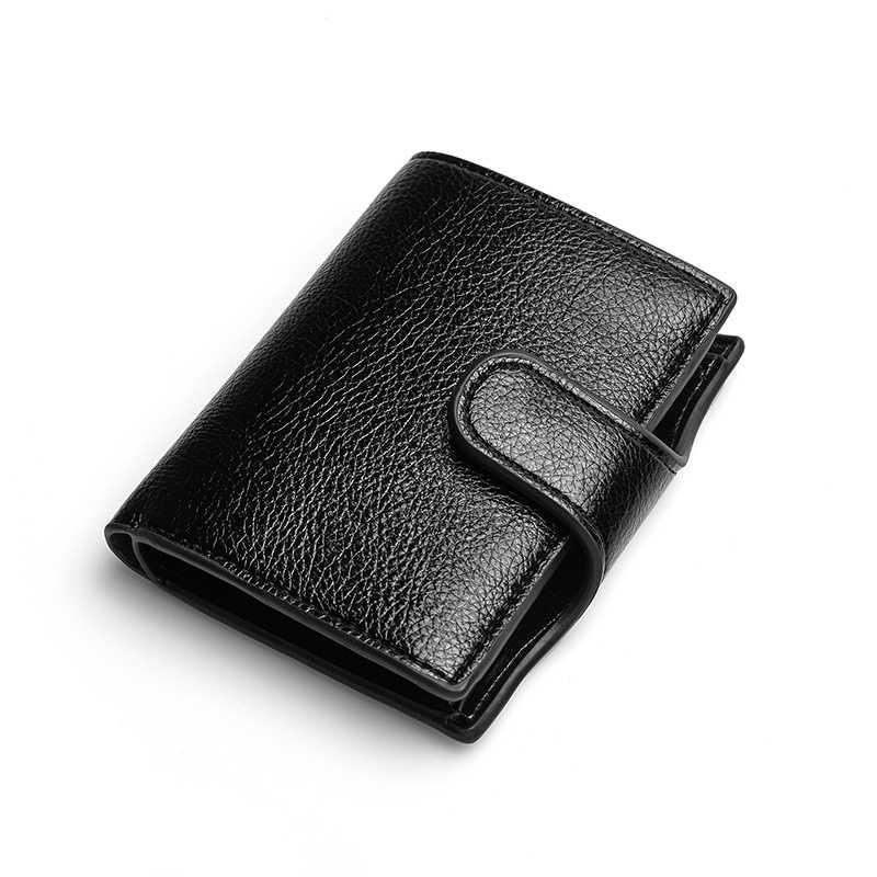 Bisi Goro Mannen Vintage Pu Lederen Credit Card Houder Knop Standaard Portefeuilles Rfid Anti-Diefstal Bescherming Bank Id-kaart holder Purse