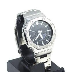 GA2100 Argento Oro Nero Della Vigilanza Set Cinturino In Metallo Lunetta 100% 316L In Acciaio Inox