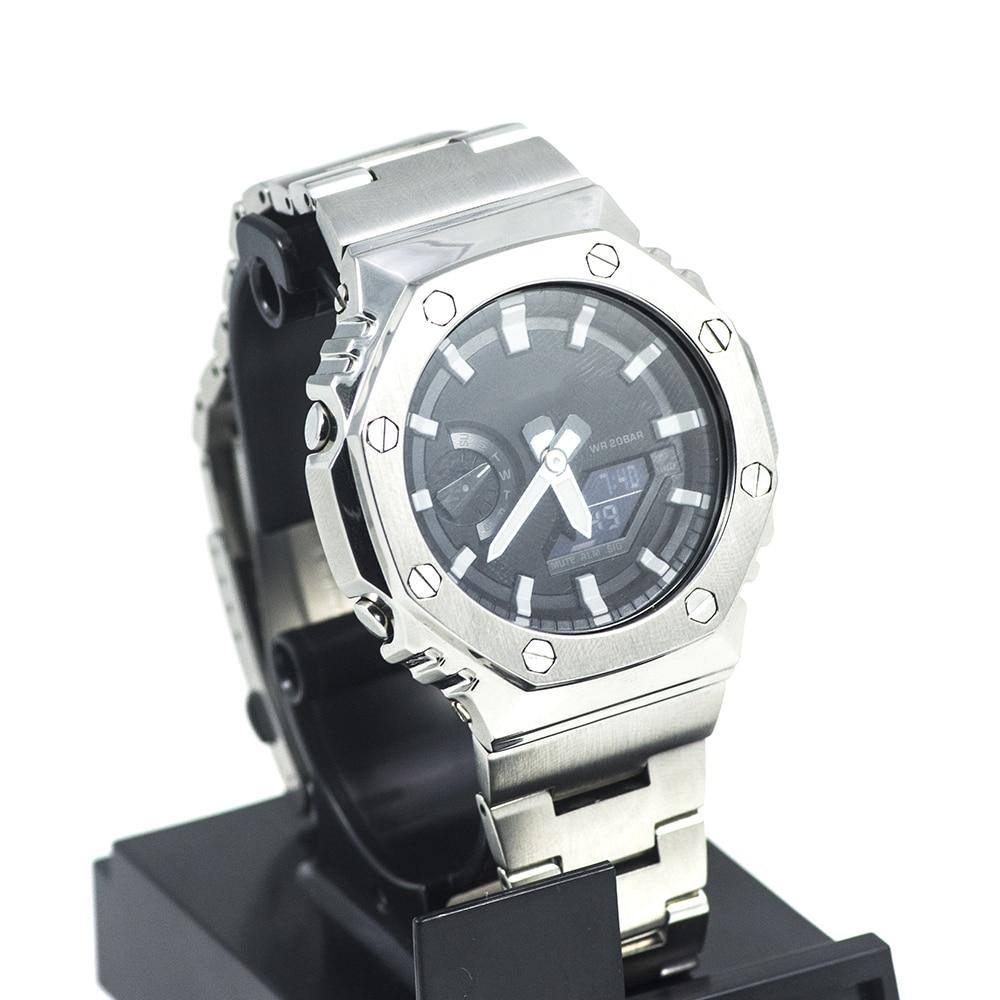 GA2100 Silver Watch Set Metal Watchband Bezel 100% 316L Stainless Steel