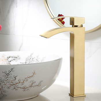 Bathroom Basin Faucet Solid Brass Sink Mixer Crane Tap Hot & Cold Deck Mounted Single Handle Waterfall Faucet Brushed Gold