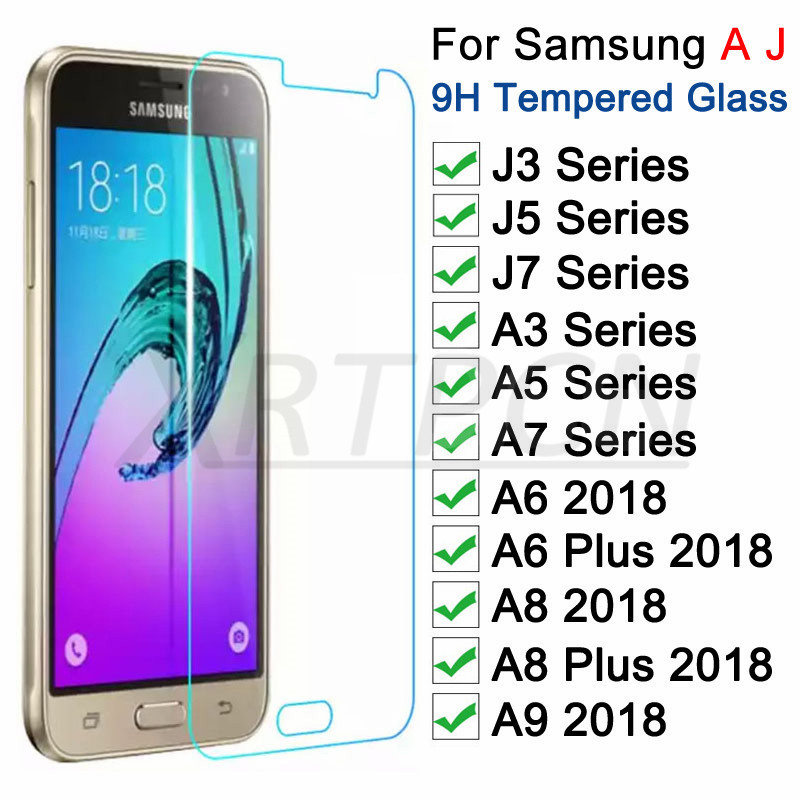 Tempered Protective <font><b>Glass</b></font> on For <font><b>Samsung</b></font> Galaxy A3 A5 A7 J3 J5 J7 2016 2017 A6 <font><b>A8</b></font> Plus A9 <font><b>2018</b></font> Screen Protector <font><b>Glass</b></font> Film Case image