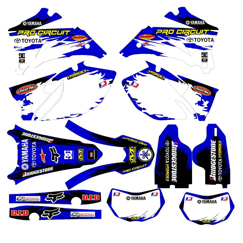 For YAMAHA WR250F 07-14 And 450F 2007-2011 New Full Graphics Decals Stickers Custom Number Name 3M Bright Stickers