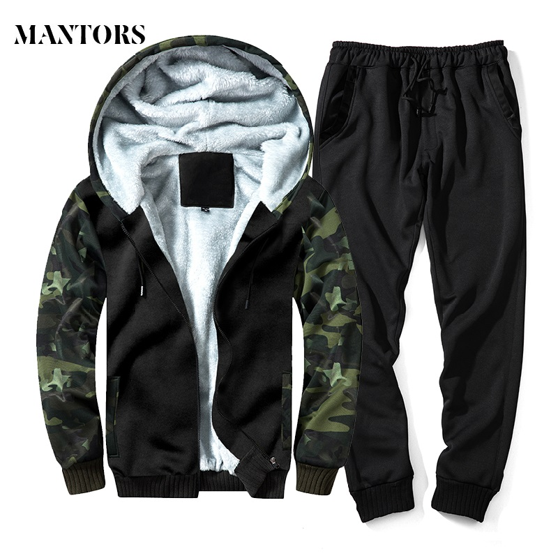 2018 Winter New Fleece Set Men Warm Hooded Sweatshirts Thick Tracksuit Hoodies+Pants Sets Male Casual Sporting Suits Camouflage