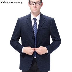 of coat cultivate morality men's wool business casual suit older single row three grain of wash and wear a single suit