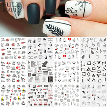 12pcs Valentine Nails Art Stickers Water Decals Slider Letter Girl Leaf Transfer Polish Foils Nail French Manicure CHA1561-1572
