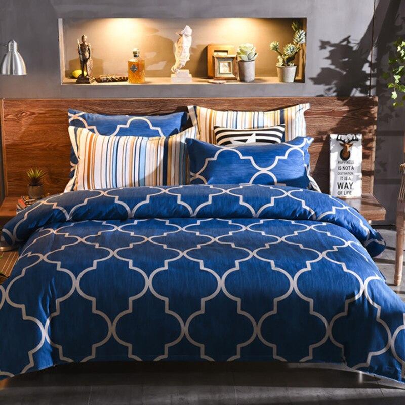 Lanke Plaid Pattern Bed Bedding,UK-Single Double Queen Size Bedding Sets, 200*200 Size 3pcs,Bed Linen Cotton