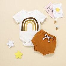 0-18 месяцев, Одежда для новорожденных, комплект из 2 предметов, летний костюм для малышей; Одежда для маленьких девочек модное платье с О-обра...
