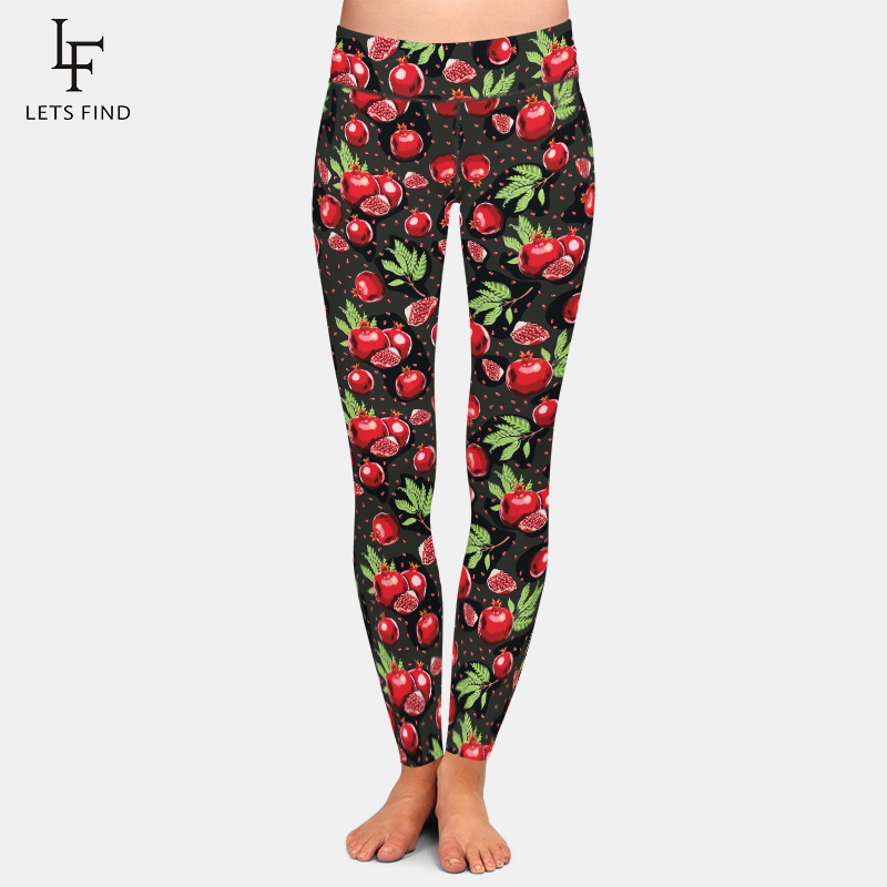 LETSFIND Women Fashion Leggings Pomegranate Printing Slim High Waist Fitness Leggings Woman Plus Size Pants
