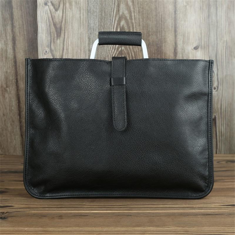 Nesitu High Quality Vintage Brown Black Genuine Leather A4 Office Men Briefcase Business Shoulder Messenger Bag Portfolio M1823