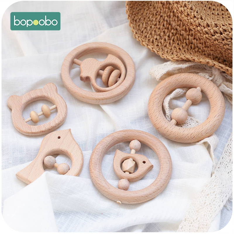 Bopoobo 5pc Wooden Baby Rattle Food Grade Material Baby Toy Wood Ring Baby Teether Crib Mobile Toddler Toys Baby Rattle For Baby