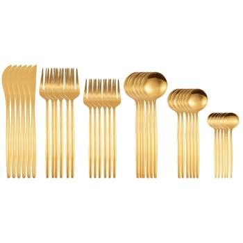 36Pcs Matte Stainless Steel Cutlery Set Dinnerware Gold Knife Fork Dessert Spoon Silverware Kitchen Party Dinner Tableware - China, Gold