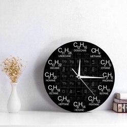 Okresowy układ pierwiastków chemia zegar ścienny chemiczne formuły jako numery czasowe zegar ścienny nauka chemiczna dekoracje ścienne