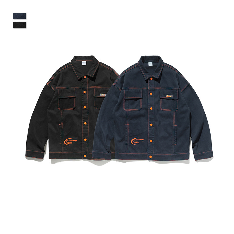 Cooo Coll Autumn Mens Denim Jacket Mens Trendy Bomber Thin Ripped Denim Jacket Male Kanye West Long Sleeve Jackets Loose Fit in Jackets from Men 39 s Clothing
