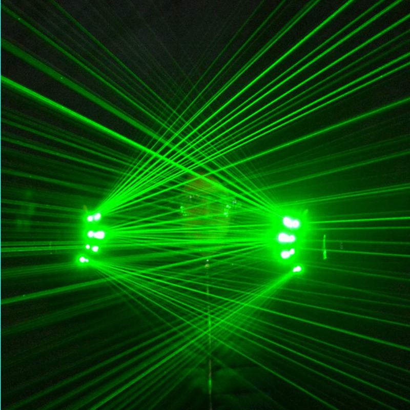 High Quality DJ Club 4 pcs 532nm 80mw Green Laser Gloves For LED luminous Costumes Show