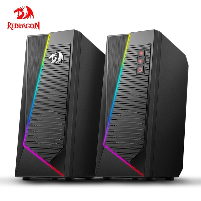 Redragon aux 3.5mm stereo surround music smart RGB speakers sound sound bar for computer 2.0 PC home notebook TV loudspeakers 1