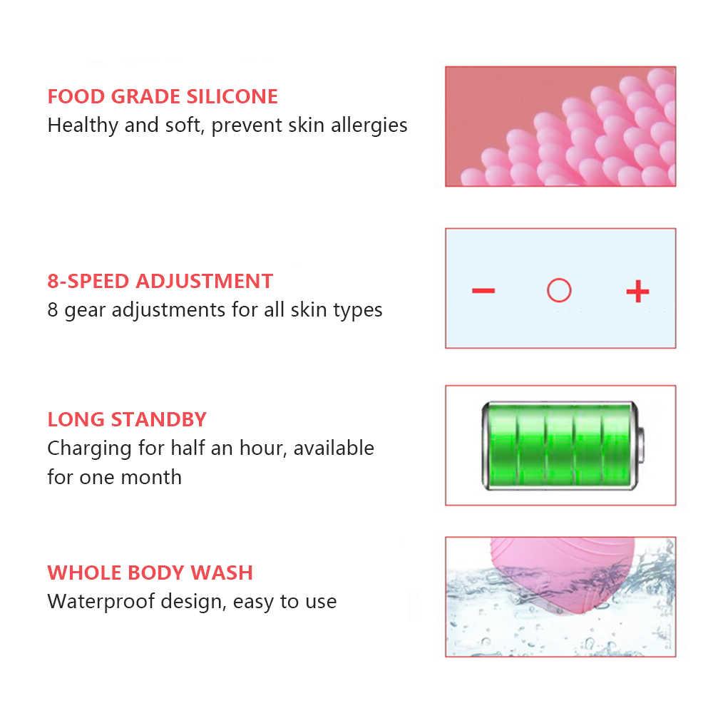 Yüz temizleme temizleyici fırça masajı cilt vibratör ultrasonik derin temizlik fırçası su geçirmez silikon masaj USB şarj edilebilir